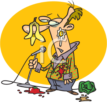 Royalty Free Clipart Image of a Comic Who Bombed
