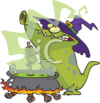 Royalty Free Clipart Image of an Alligator at a Cauldron