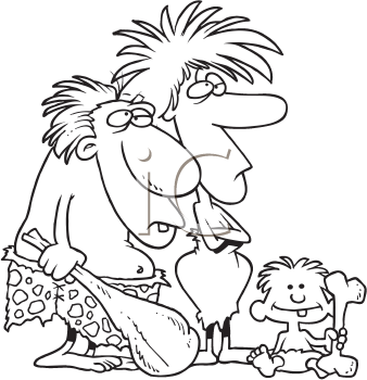 Royalty Free Clipart Image of a Prehistoric Family