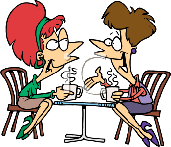Royalty Free Clipart Image of Women Having Coffee
