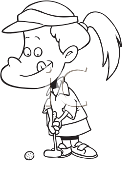 Royalty Free Clipart Image of a Girl Playing Miniature Golf