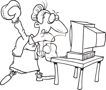 Royalty Free Clipart Image of a Grandmother With Boxing Gloves at a Computer