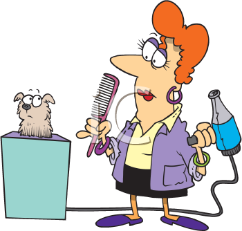 Royalty Free Clipart Image of a Woman Grooming a Dog