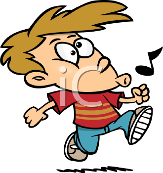 Royalty Free Clipart Image of a Boy Walking and Whistling