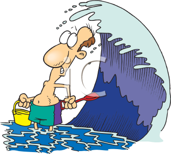 Royalty Free Clipart Image of a Man Under a Wave