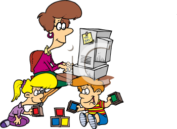 Royalty Free Clipart Image of a Woman Working at a Computer With Two Children Playing on the Floor
