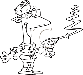 Royalty Free Clipart Image of a Guy With a Laser Gun