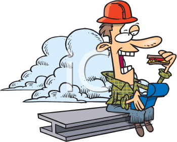 Royalty Free Clipart Image of a Construction Worker Eating Lunch While Sitting on a Girder