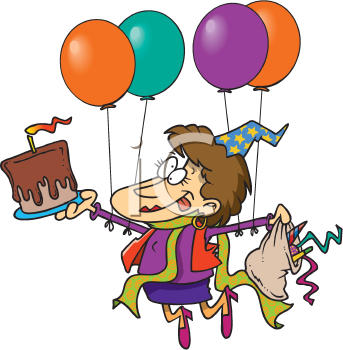 Royalty Free Clipart Image of a Partier With Cake and Balloons