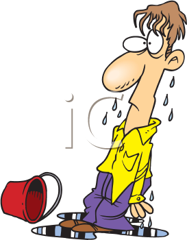 Royalty Free Clipart Image of a Wet Man