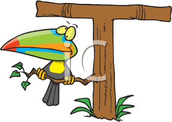 Royalty Free Clipart Image of a Toucan and a T