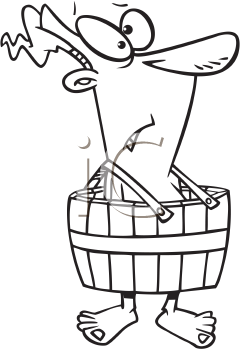 Royalty Free Clipart Image of a Man Wearing a Barrel