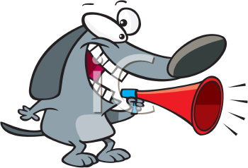 Royalty Free Clipart Image of a Dog Using a Megaphone