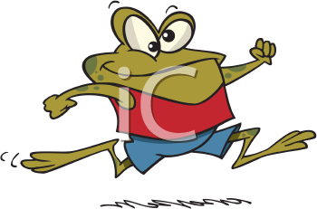 Royalty Free Clipart Image of  a Frog Jogging