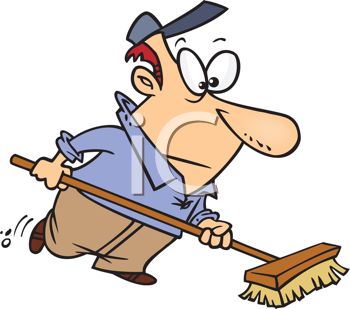 Royalty Free Clipart Image of a Man Using a Broom