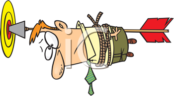 Royalty Free Clipart Image of a Guy Tied to an Arrow Stuck in a Bullseye