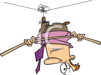 Royalty Free Clipart Image of a Man Hanging by a Thread on a Tightrope