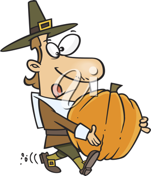 Royalty Free Clipart Image of a Pilgrim With a Pumpkin