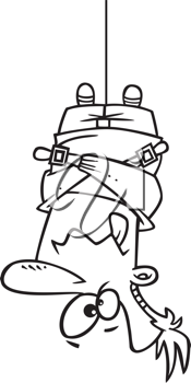 Royalty Free Clipart Image of a Man in a Strait Jacket Hanging Upside Down