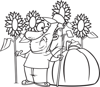 Royalty Free Clipart Image of a Man Standing in a Garden
