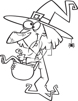 Royalty Free Clipart Image of a Witch Brewing a Potion