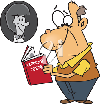 Royalty Free Clipart Image of a Man Looking at a Yearbook Photo