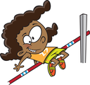 Royalty Free Clipart Image of a Girl Doing the High Jump