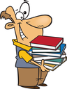 Royalty Free Clipart Image of a Man With a Pile of Books