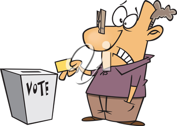 Royalty Free Clipart Image of a Man Voting With a Clothespin on His Nose