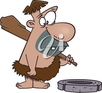 Royalty Free Clipart Image of a Caveman Looking at a Wheel
