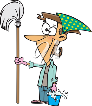 Royalty Free Clipart Image of a Woman With a Mop and Pail