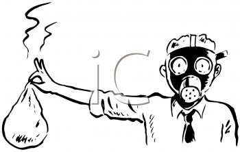 Royalty Free Clipart Image of a Man Holding Something Smelly and Wearing a Gas Mask