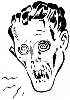 Royalty Free Clipart Image of Ghoul's Head