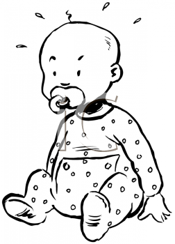 Royalty Free Clipart Image of a Baby With a Pacifier