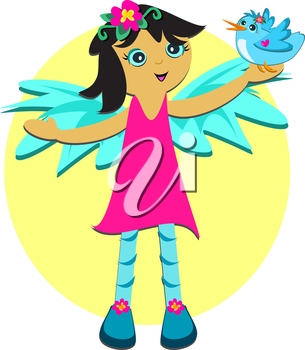Royalty Free Clipart Image of a Girl With Wings Holding a Bird