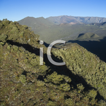 Royalty Free Photo of an Aerial of a Mountain Landscape on Maui, Hawaii