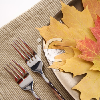 Royalty Free Photo of a Close-up of a Table Setting With Plate of Multicolor Leaves as a Meal