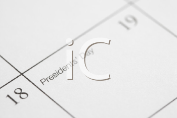 Royalty Free Photo of a Close-up of a Calendar Displaying Presidents Day