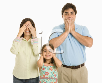 Royalty Free Photo of a Family Doing Hear No Evil, See No Evil, Speak No Evil Gestures