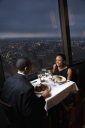 Royalty Free Photo of a Couple Having Dinner at the Tower of the Americas in San Antonio, Texas
