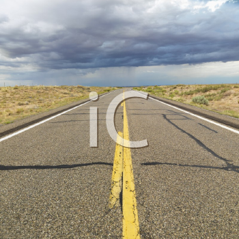 Royalty Free Photo of an Empty Two Lane Highway