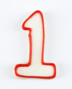 Royalty Free Photo of a Sugar Cookie in the Shape of a Number One Outlined in Red Icing