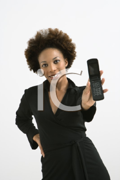 Royalty Free Photo of a Woman Holding a Cellphone