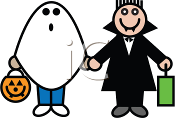 Royalty Free Clipart Image of a Ghost and Vampire Halloween Costume