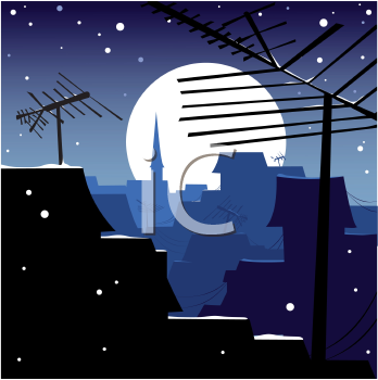 Royalty Free Clipart Image of a Nighttime Rooftop Scene