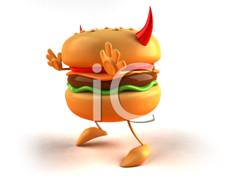 Royalty Free 3d Clipart Image of a Hamburger with Devil's Horns