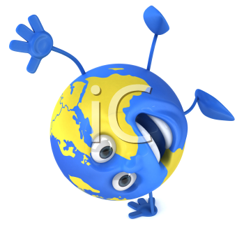 Royalty Free Clipart Image of a Globe Doing a Handstand