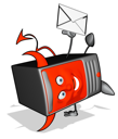 Royalty Free Clipart Image of an Evil Devil Modem With a Letter