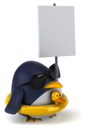 Royalty Free Clipart Image of a Penguin With a Rubber Duck Ring and Sign