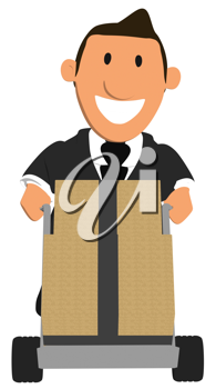 Royalty Free Clipart Image of a Businessman Moving Boxes